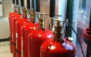 six fire extinguishers